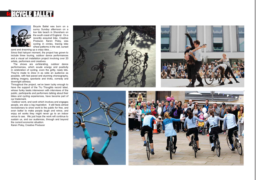 Two pages of a book laid out with images of Bicycle Ballet shows and short text