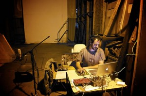 Ollie in his makeshift studio in a warehouse rehearsal space