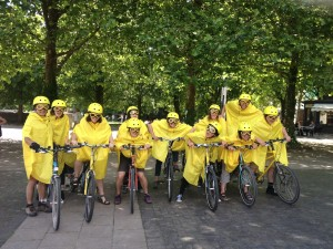 Seven tandems & their riders line up in costume before Bristol's Carnivelo 2014
